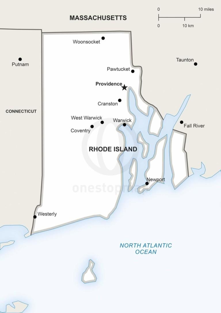 Vector map of Rhode Island political