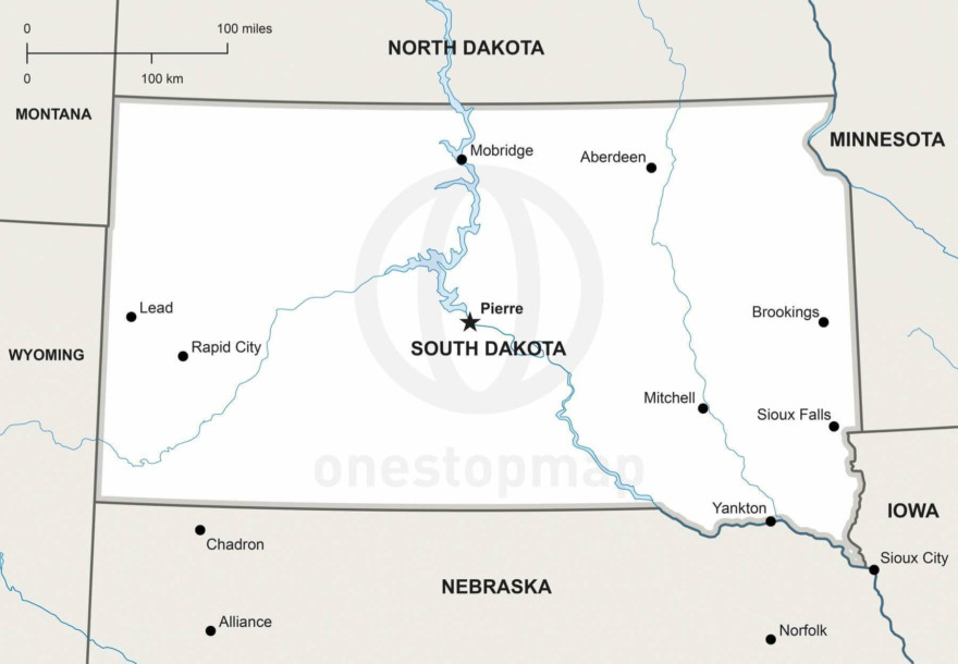 Vector map of South Dakota political