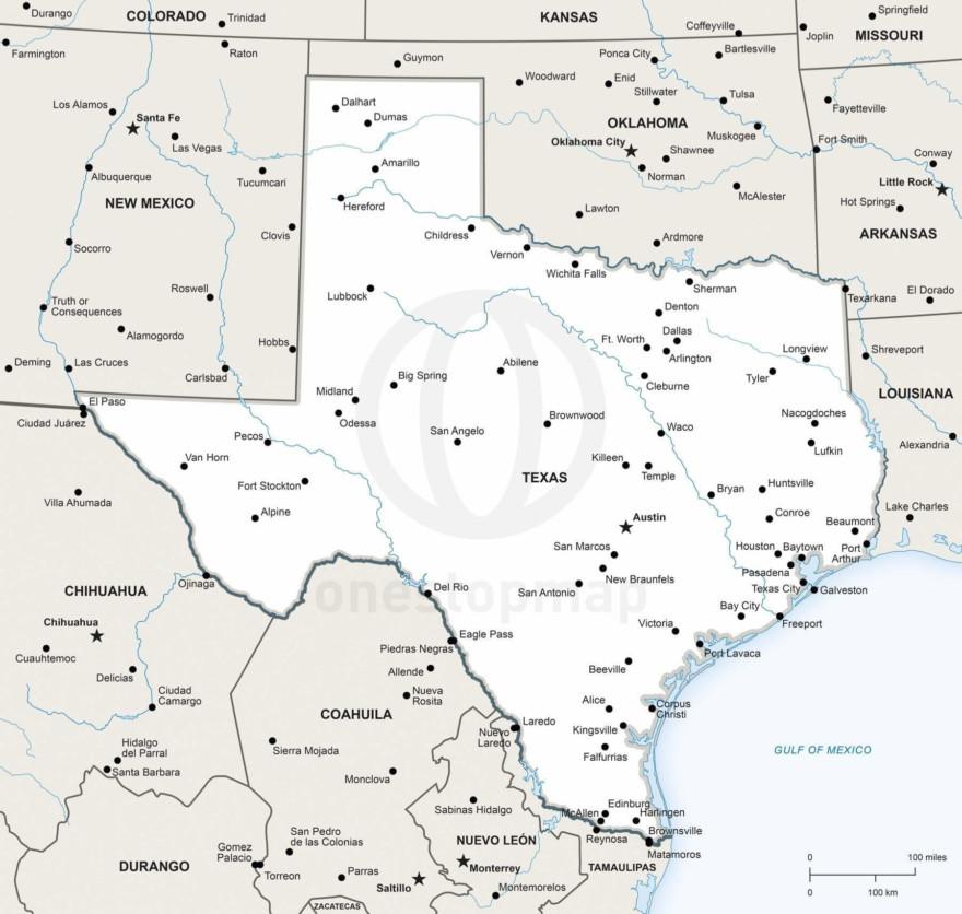 Vector map of Texas political