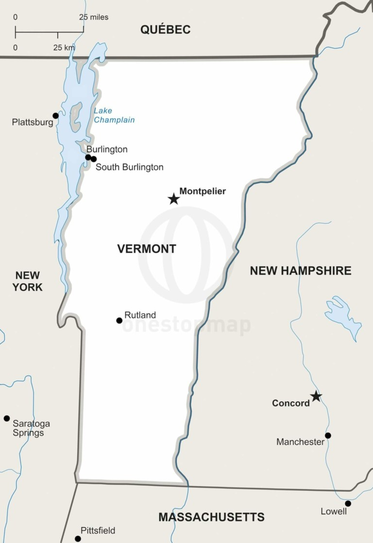 Vector map of Vermont political