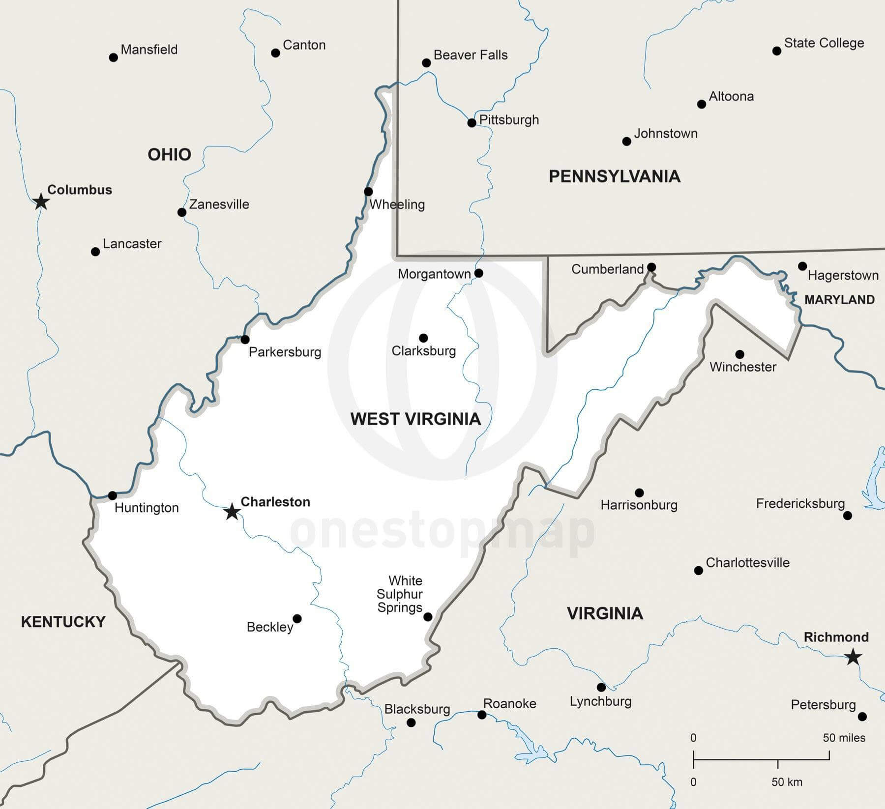 Vector map of West Virginia political