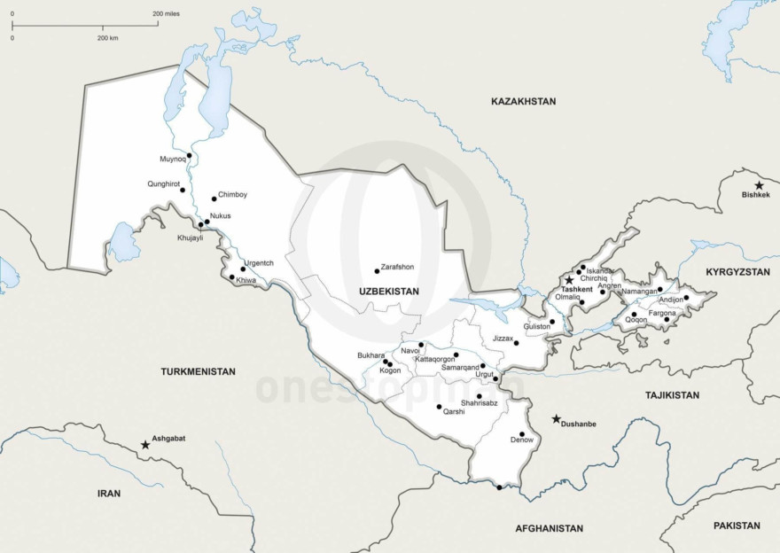 Vector map of Uzbekistan political