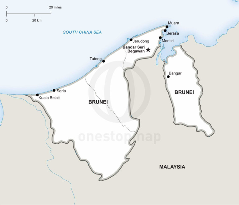 Vector map of Brunei political