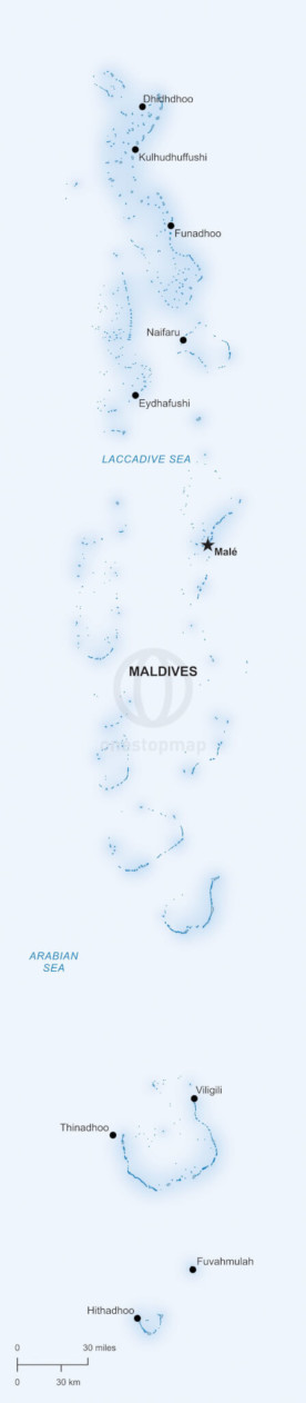 Vector map of Maldives political