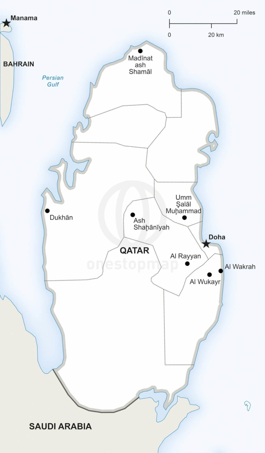 Vector map of Qatar political