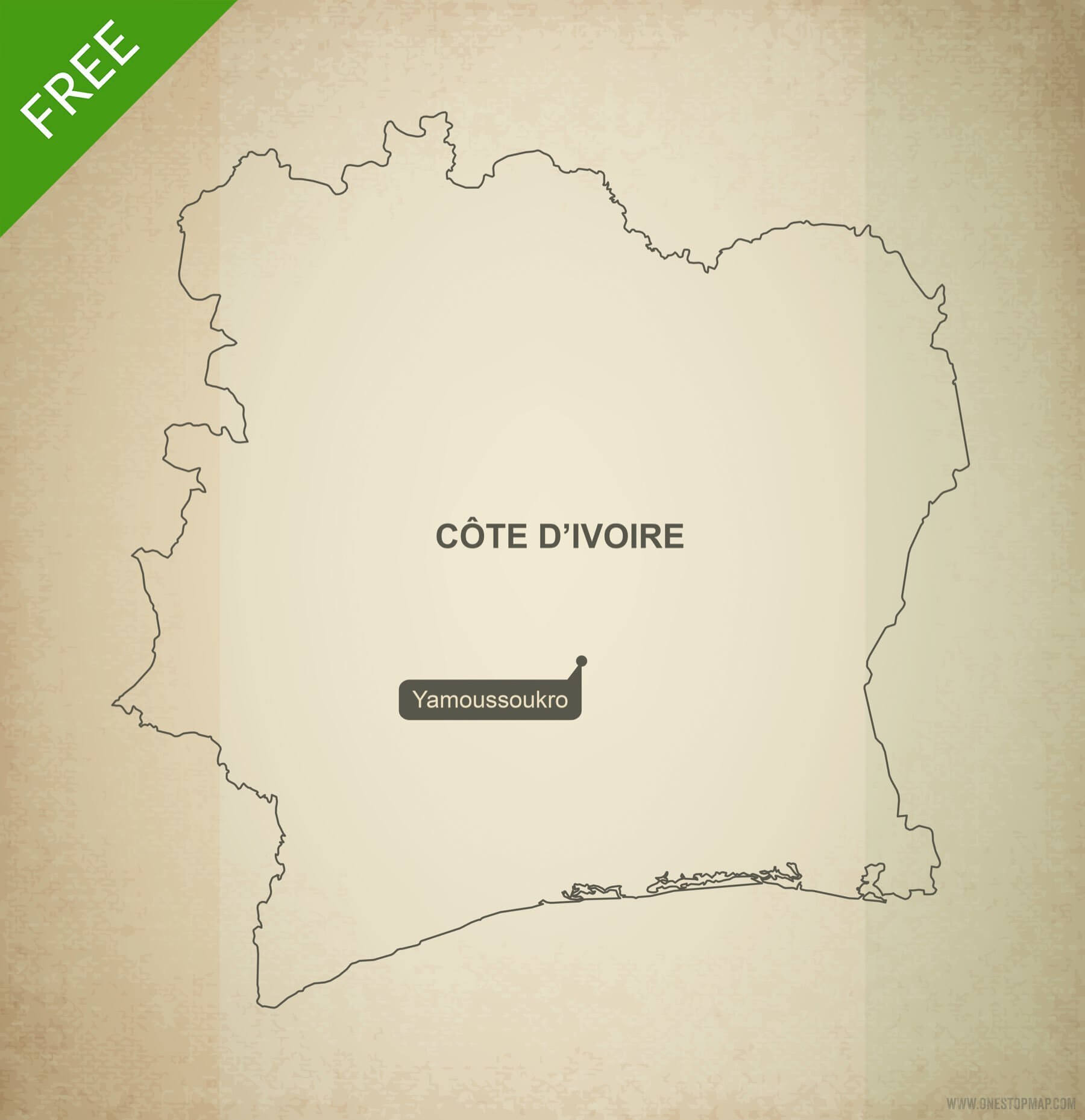 Picture of: Free Vector Map Ivory Coast Cote D Ivoire One Stop Map
