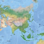 Vector map of Asia continent political with shaded relief
