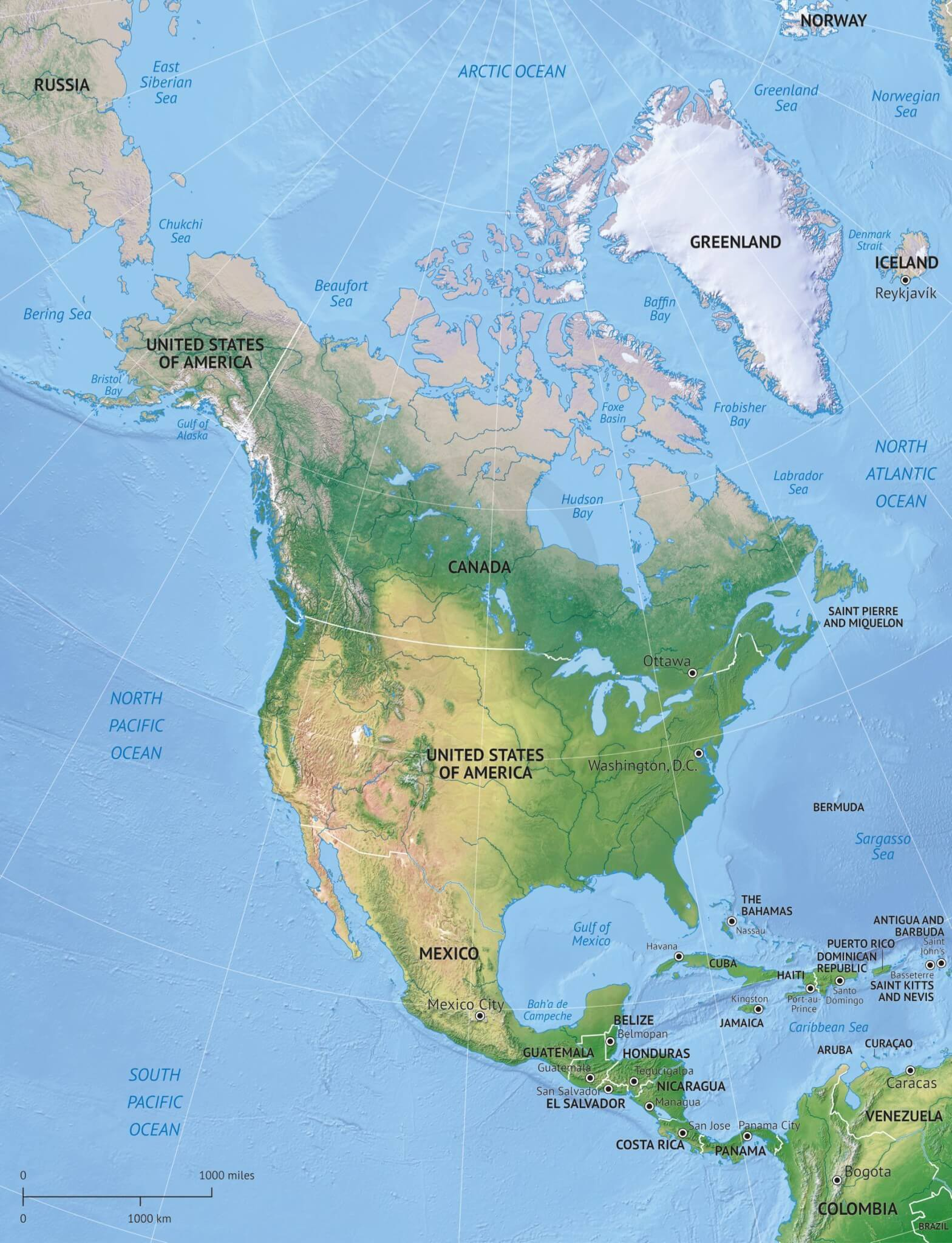 Vector map of North America continent political with shaded relief