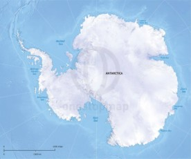 Vector map of Antarctica continent political with shaded relief