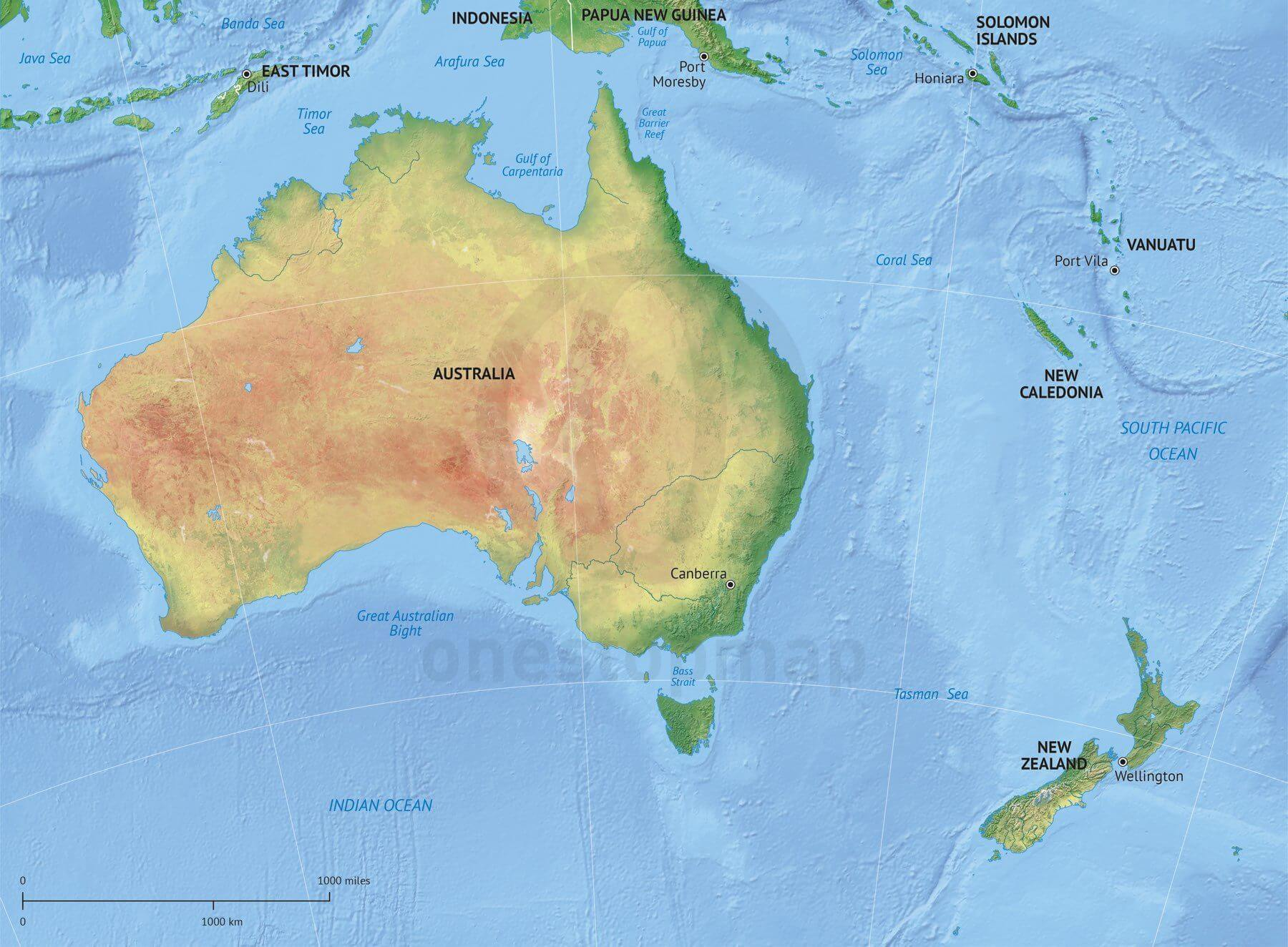 Map of Australia - New Zealand political with shaded relief