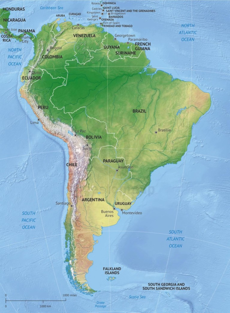 Vector map of South America political with shaded relief