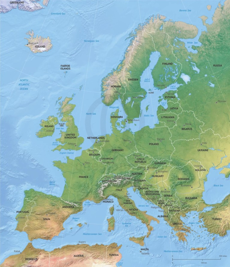 Vector map of Europe political with shaded relief