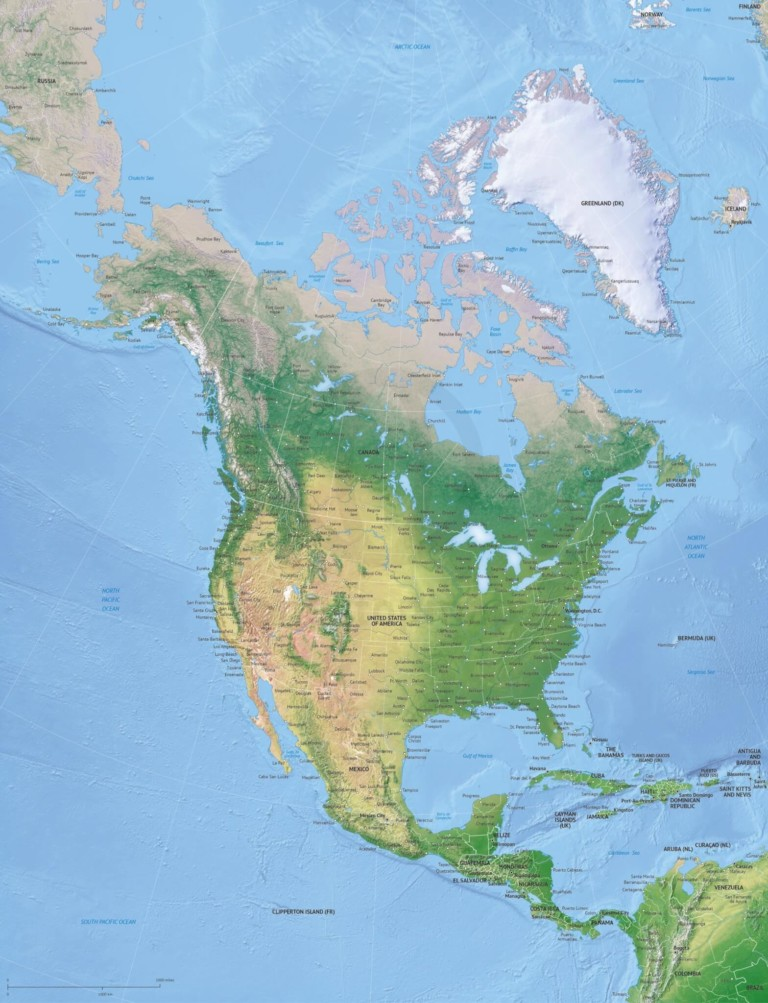 Vector map of North America continent political high detail with shaded relief