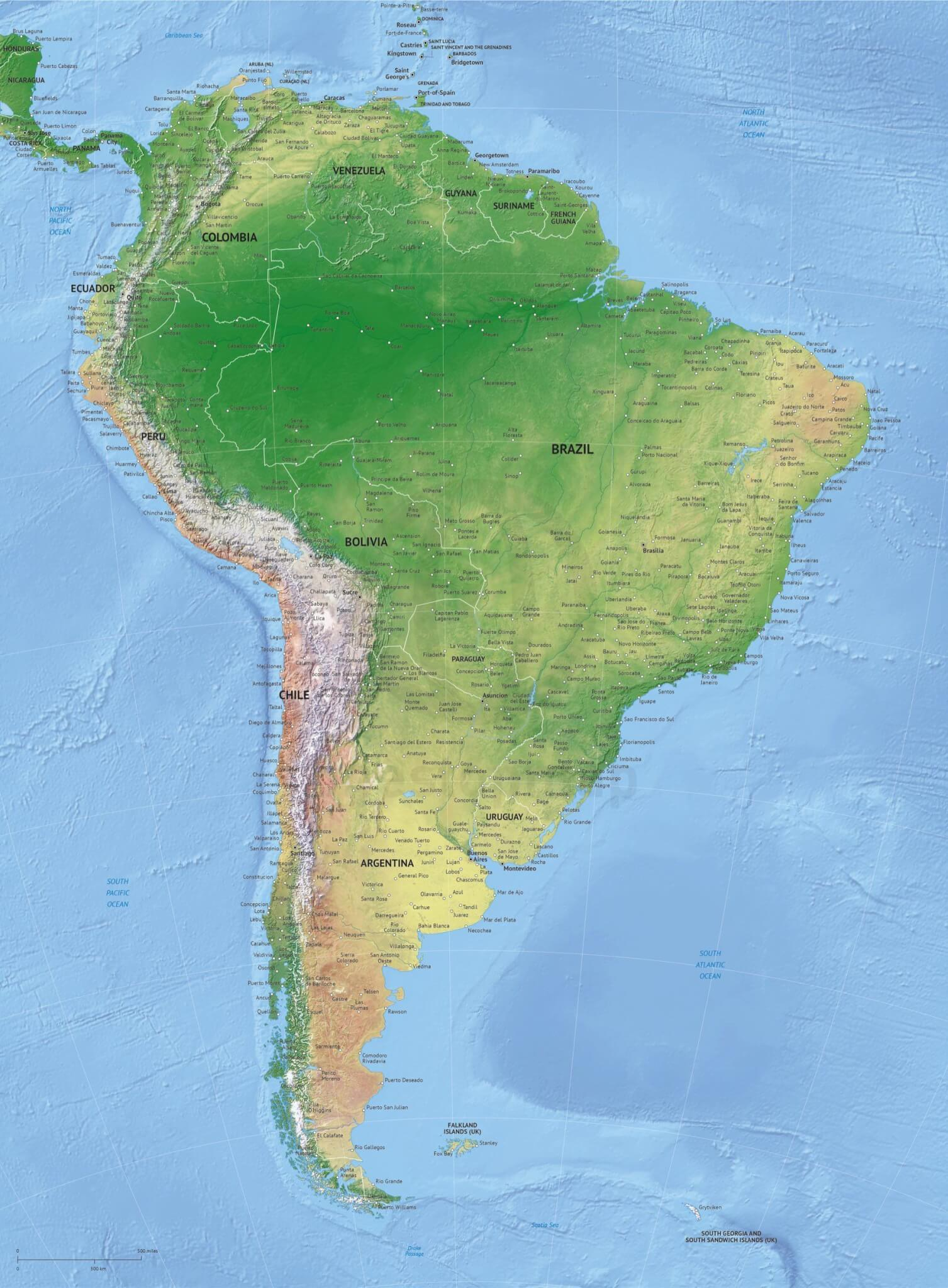 Vector map of South America continent political high detail with shaded relief
