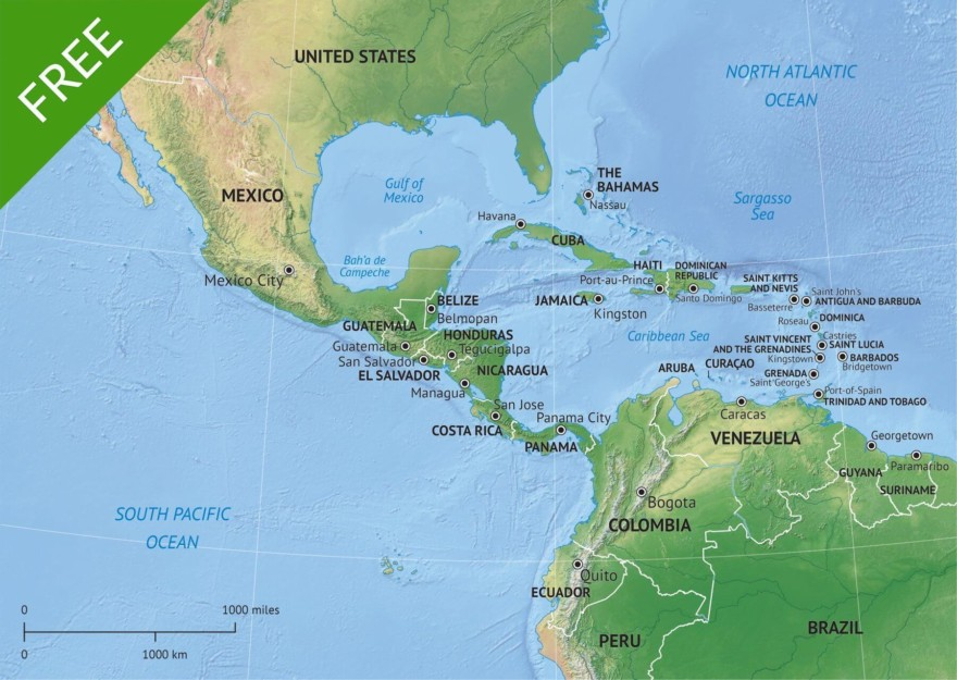 Vector map of Middle America (and Central America) political with shaded relief