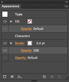 Appearance palette showing settings for semi-tranparent stroke around type