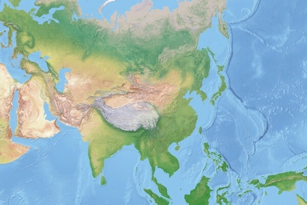 Shaded relief of Asia