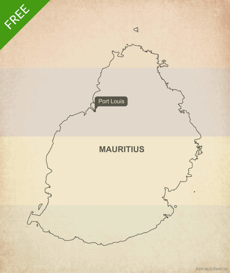Free vector map of Mauritius outline