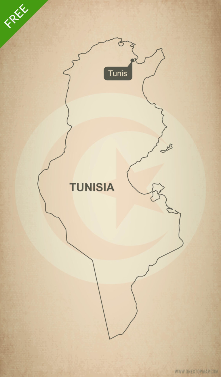 Free vector map of Tunisia outline
