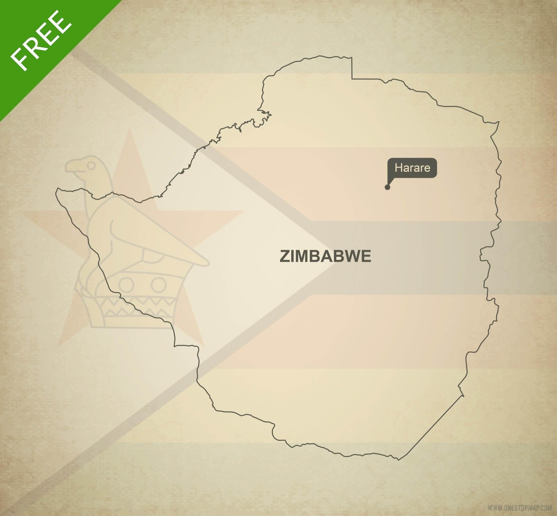 Free vector map of Zimbabwe outline