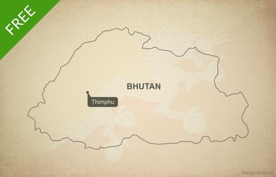 Free vector map of Bhutan outline