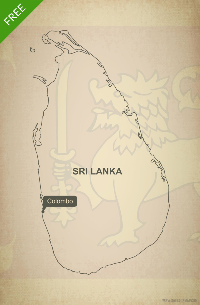 Free vector map of Sri Lanka outline