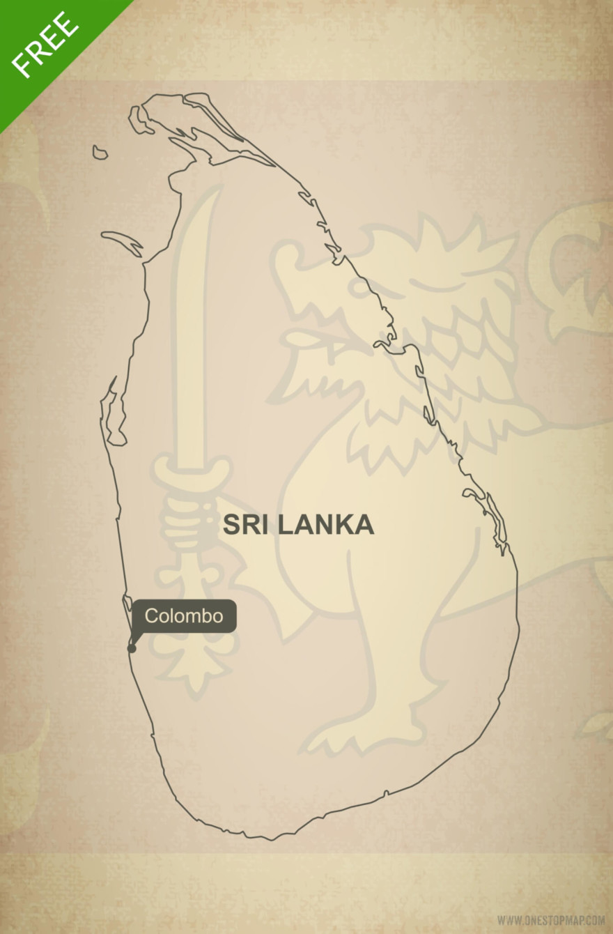Free vector map of Sri Lanka outline