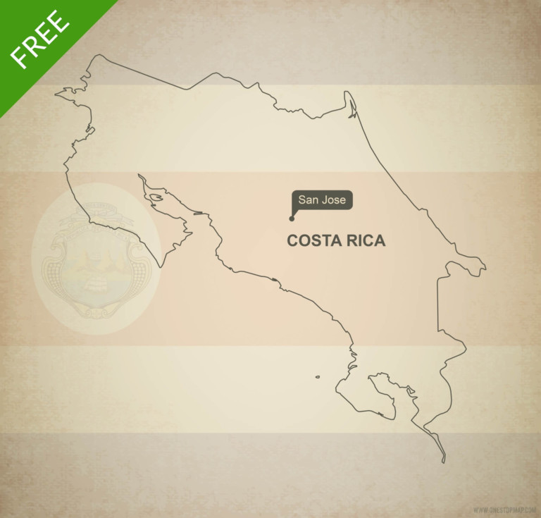 Free vector map of Costa Rica outline