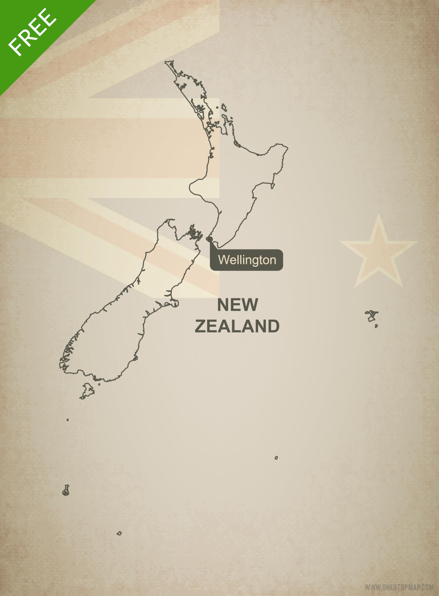 Picture of: Free Vector Map Of New Zealand Outline One Stop Map