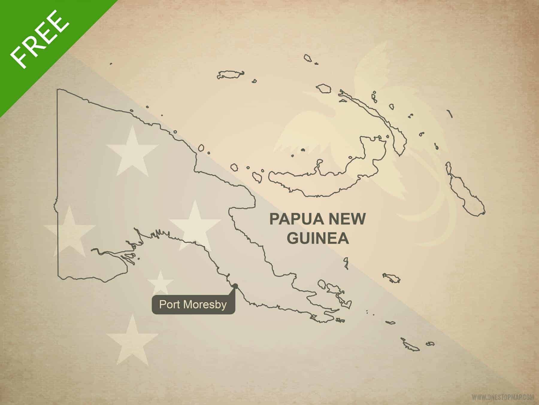 Image of: Free Vector Map Papua New Guinea Outline One Stop Map