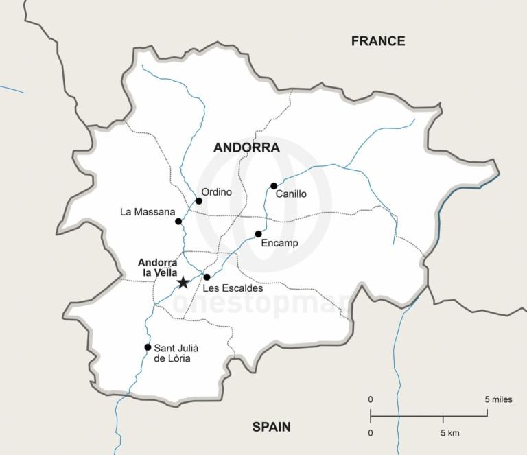 Vector map of Andorra political