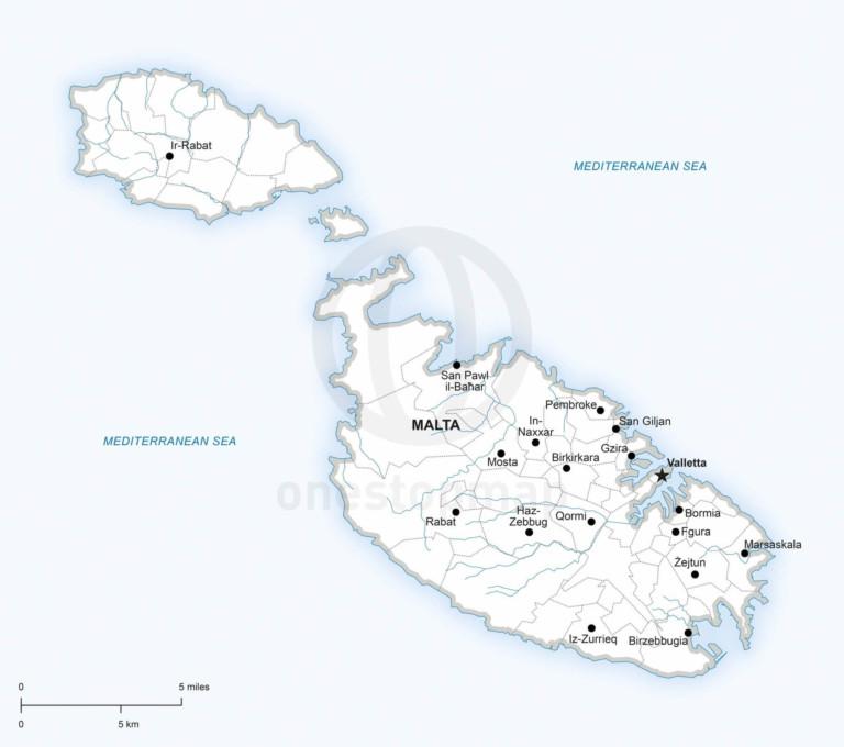 Vector map of Malta political