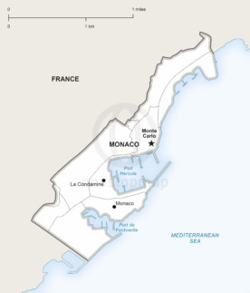 Vector map of Monaco political