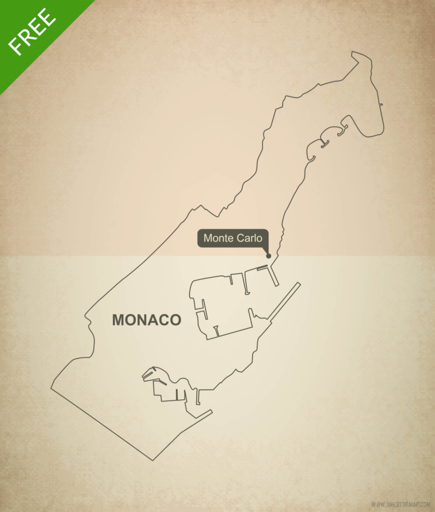 Free vector map of Monaco outline