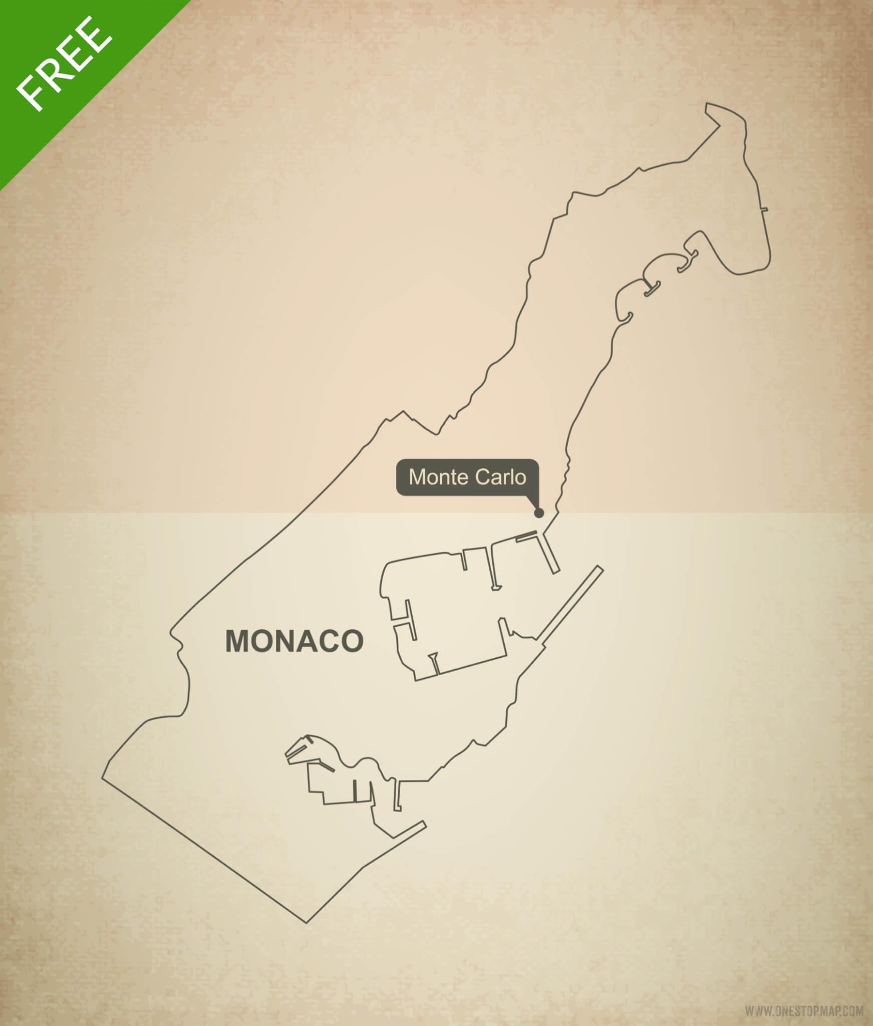 Free vector map of Monaco outline