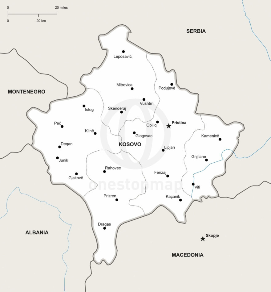 Vector map of Kosovo political