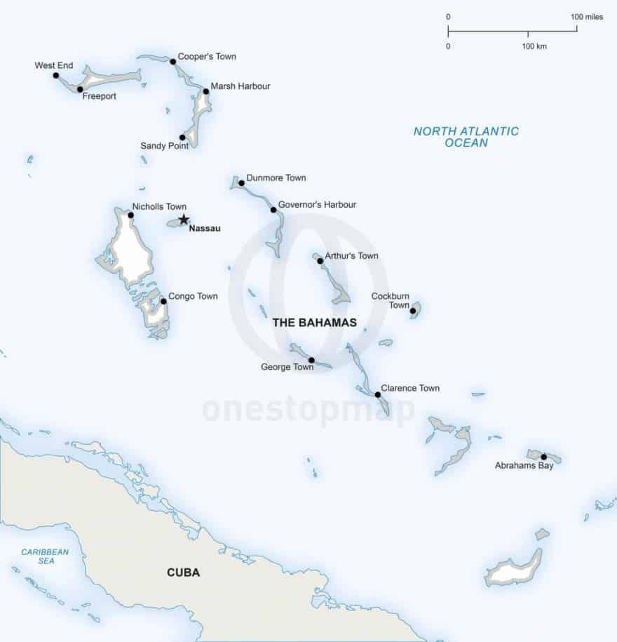 Vector map of The Bahamas political