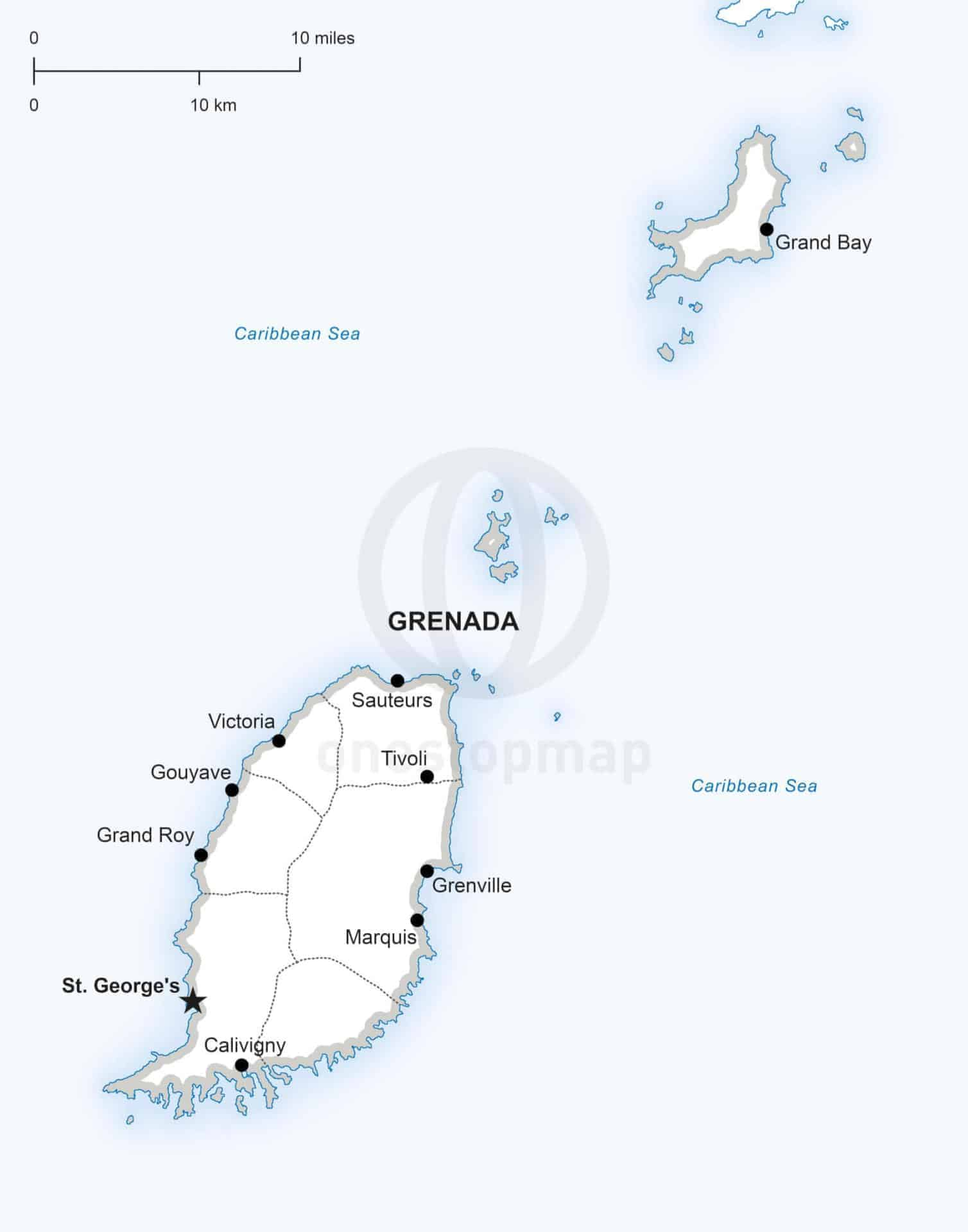 Vector map of Grenada political