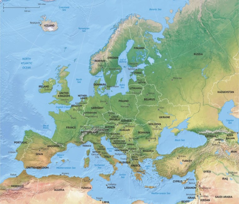 Vector map of Europe continent political with shaded relief