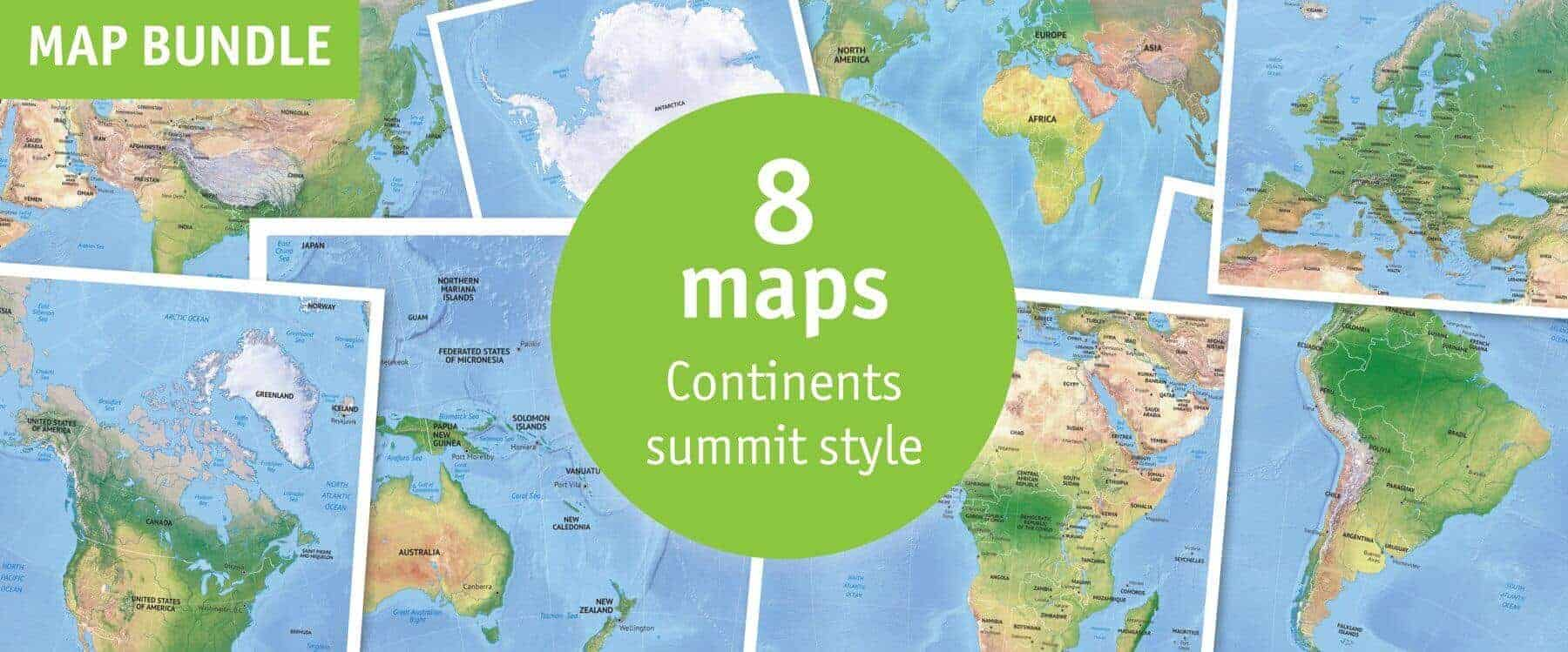 Map bundle continents political summit style