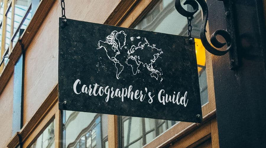 Our free vector world map used to make a sign for a physical shop