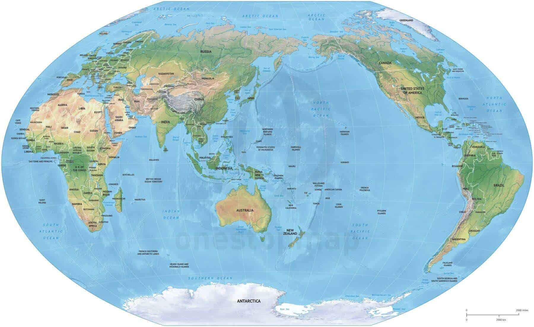 Map of World political shaded relief Winkel Tripel Asia-Australia centered