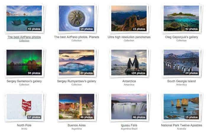 Screenshot photo galleries on Airpano.com