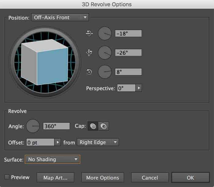 Settings in the 3D Revolve Options palette