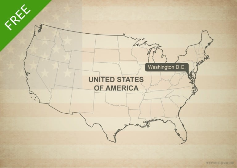 Free vector map of US with states outline
