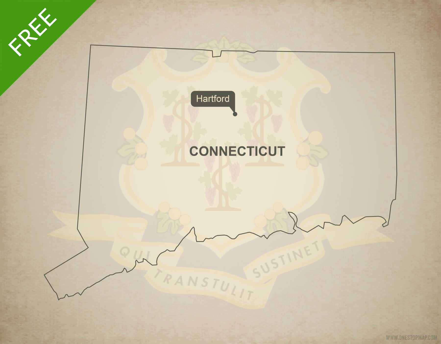 Free blank outline map of the U.S. state of Connecticut