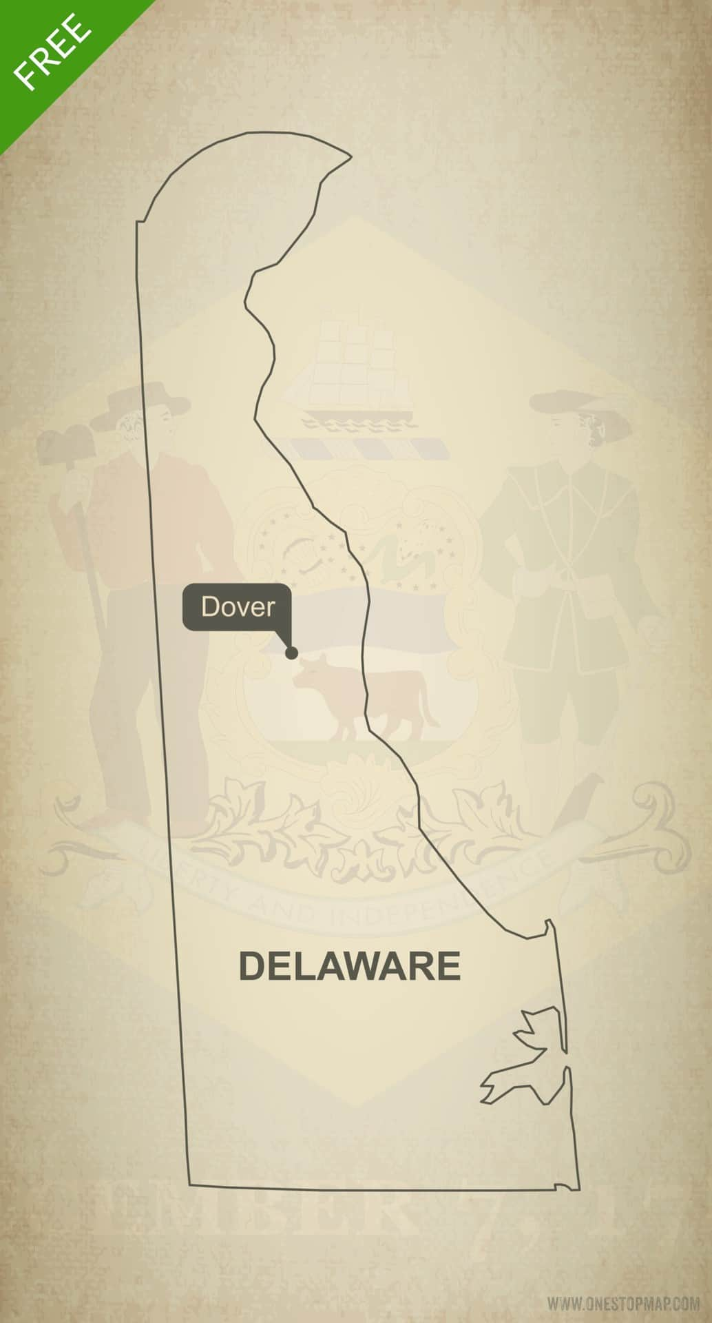 Free blank outline map of the U.S. state of Delaware