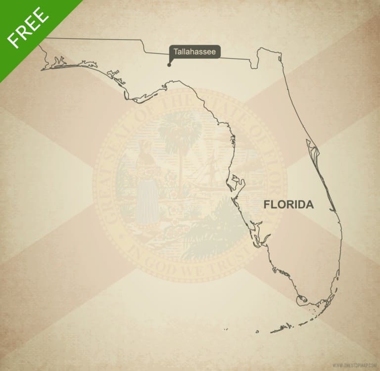Free blank outline map of the U.S. state of Florida