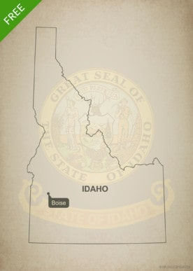Free blank outline map of the U.S. state of Idaho