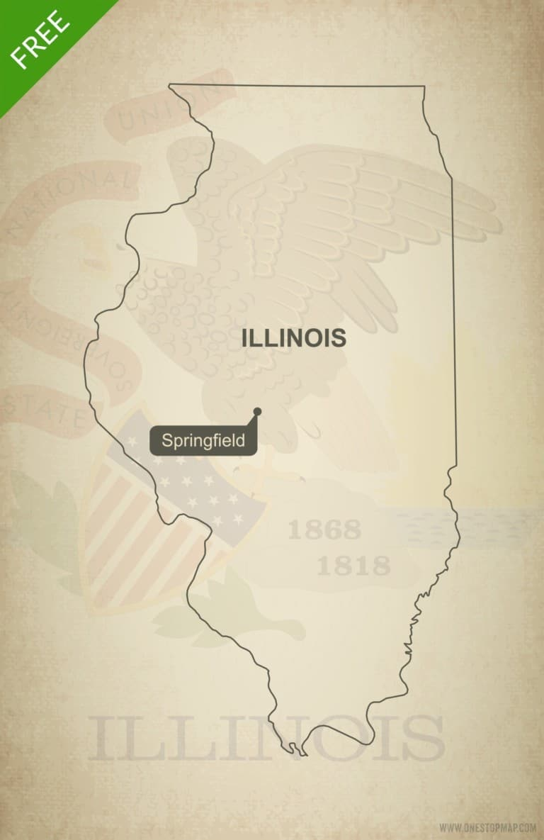 Free blank outline map of the U.S. state of Illinois